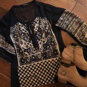 Nanette Lepore tan & blk blouse